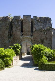 Ancient Walls Of The Castle Of Montechiarugolo, It Stock Images