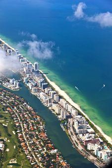 Free Aerial Of Coastline Miami Royalty Free Stock Image - 15706176