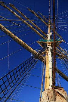 Free Ship Tackles, Rigging On A Old Frigate Stock Image - 15706181