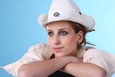 Free Dreamy Girl In A White Hat Royalty Free Stock Photography - 15706347