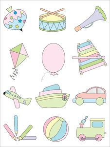 Free Kid Toys Icon Set Royalty Free Stock Images - 15706609