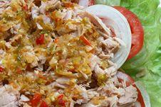 Free Thai Spicy Tuna With Green Salad, Closeup Stock Image - 15708661