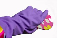 Cleaning Glove And Brush Stock Photo