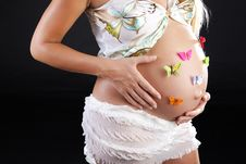 Free Pregnant Beautiful Woman With Butterflies Royalty Free Stock Images - 15708979