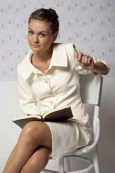 Girl In The Classic Business Suit Royalty Free Stock Photo