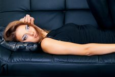 Free Image Of A Beautiful Girl On A Luxurious Couch Royalty Free Stock Images - 15710149