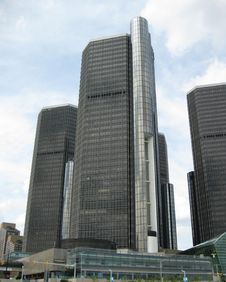 Detroit Renaissance Center Skyline Stock Photo