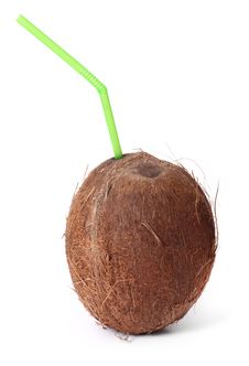 Free Coconut With Straw Stock Photography - 15710462