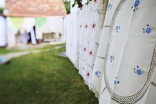 Tablecloth Drying On A Wire Royalty Free Stock Photography