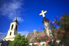 Free Church And Cross Statue Stock Photos - 15712503