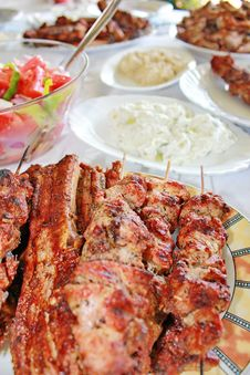 Free Variety Grilled Meat And Salads Stock Image - 15714791