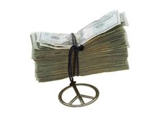 Twenty Dollar Bills Banded With Peace Necklace Royalty Free Stock Images