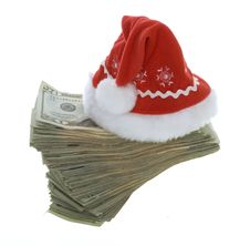Free Twenty Dollar Bills With Red Santa Hat Stock Photo - 15715400