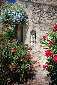 Free House Wall With Flowers In France Royalty Free Stock Photo - 15715735