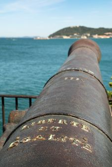 Old Cannon With Registration Freedom And Equal Royalty Free Stock Images