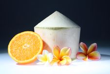 Free Coconut And Orange With Three Lan Thom Flowers Stock Photos - 15716443