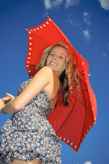 Free Teenager With  Red Umbrella Royalty Free Stock Image - 15716986
