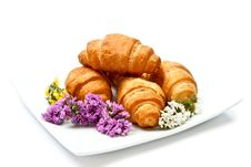 Free Croissant On Plate Stock Images - 15718264