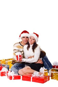 Free Christmas Couple With Gift Boxes Stock Photo - 15718340