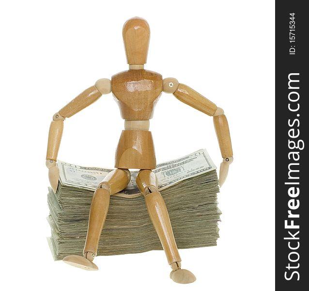 Mannequin Sitting on Stack of Twenty Dollar Bills