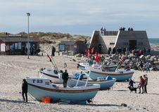 Free Small Boats And Observation Deck At Nørre Vorupør Royalty Free Stock Images - 157150359
