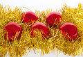 Free Red Christmas Balls On Gold Tinsel Royalty Free Stock Photos - 15726898
