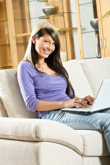 Free Woman With A Laptop Royalty Free Stock Image - 15720306