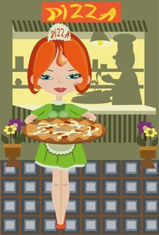 Girl With Pizza In The Cafe. Stock Photography