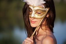 Free Beautiful Woman In Carnival Mask Royalty Free Stock Photography - 15720847