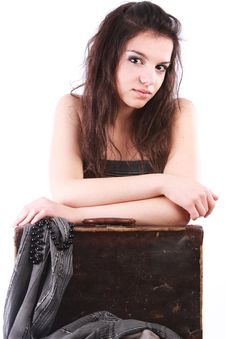 Free Girl Leaning On Old Suitcase Stock Image - 15721241