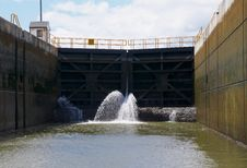 Canal Lock Filling Royalty Free Stock Image
