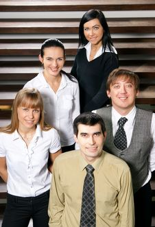 Five Young Business People Are Standing As A Team Stock Photography
