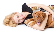 Free Young Girl With Puppy Of Dogue De Bordeaux Stock Image - 15724371