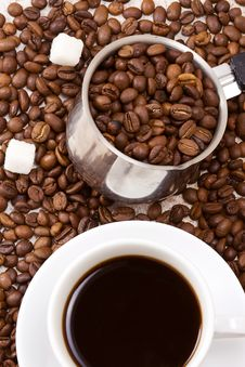 Free Silver Pot And Cup Of Coffee Stock Photography - 15725252