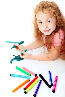 Free Drawing Girl Royalty Free Stock Photography - 15725847