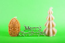 Free Merry Christmas Sign With Xmas Candles Royalty Free Stock Images - 15726939