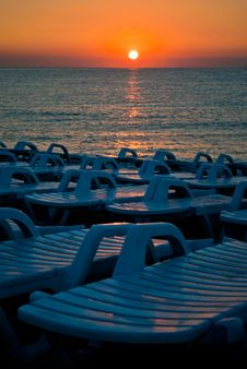 Beach Chairs Ready For Tourists Stock Photography