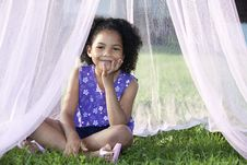 Free Girl Sitting In Her Canopy Stock Photography - 15728272