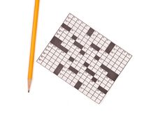 Free Crossword Puzzle And Pencil Royalty Free Stock Photo - 15728795