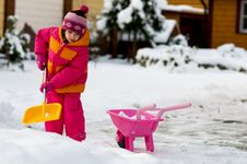 Free Nice Little Girl Playing With Snow Stock Photos - 15729243