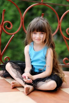Adorable Toddler Girl With Very Long Dark Hair Royalty Free Stock Image