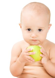 Free Lovely Baby Girl With Green Apple Royalty Free Stock Images - 15729889