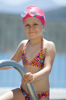 Free Little Child In Bathing Cap, Glasses On Pool Stair Stock Photos - 15730023