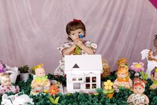 Baby Girl And Doll House Royalty Free Stock Photo