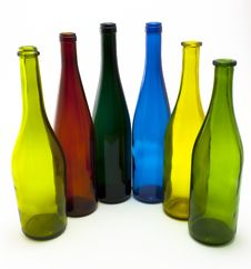 Free Colorful Empty Wine Bottles In An Arc Stock Photo - 15731540