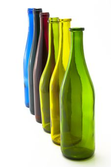 Free Colorful Empty Wine Bottles In A Line Stock Photography - 15731542
