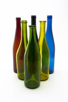 Free Triangle Of Six Colorful Wine Bottles Royalty Free Stock Photo - 15731545