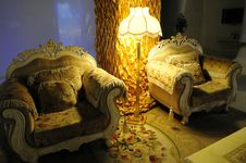 Luxury Room With Sofa And Floor Lamp Royalty Free Stock Photo