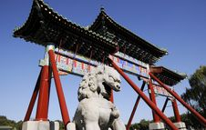 Free Chinese Building Architecture With Lion Statue Royalty Free Stock Image - 15732846