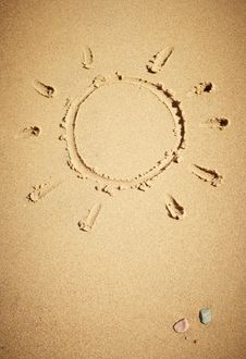 Free Sun Drawn On Sand Stock Photos - 15733083